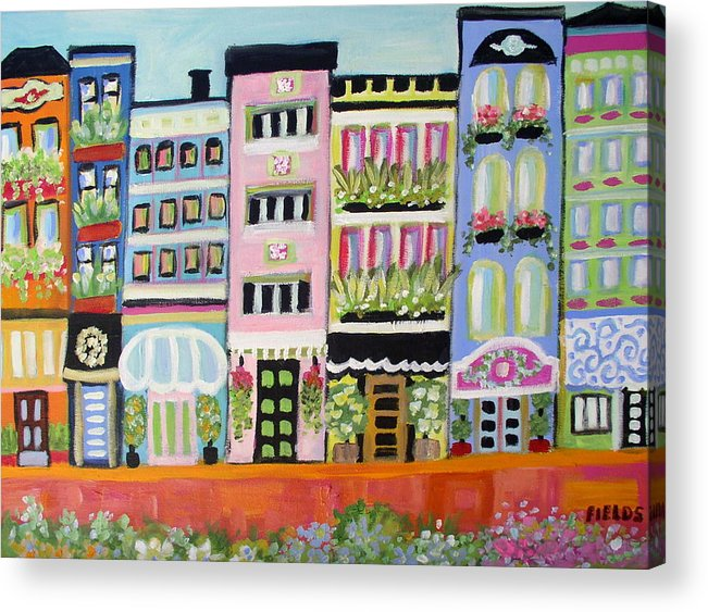 Cityscape Acrylic Print featuring the painting Avenue Of Gardens by Karen Fields