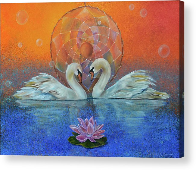 Swans Acrylic Print featuring the painting Awakening To The Beauty Within by Sundara Fawn