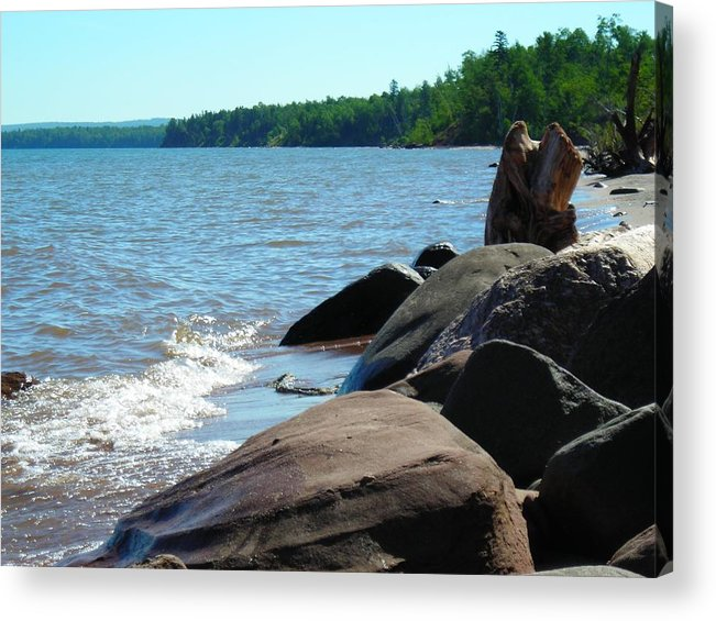 Beach Acrylic Print featuring the photograph Beach On The Rocks by Peter Mowry