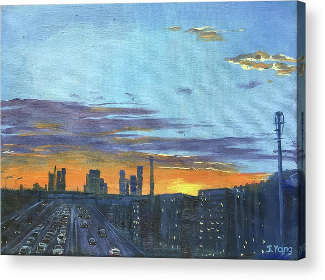 Sunset Acrylic Print featuring the painting Bei Jing Sunset by Jie Yang