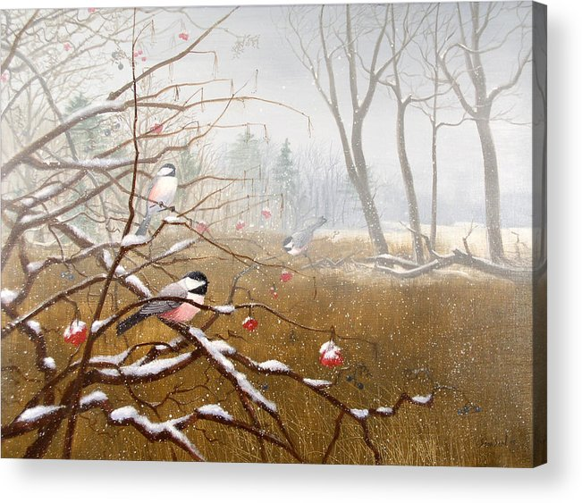 Chickadees Acrylic Print featuring the painting Berry Good Friends by Sean Seal