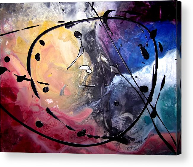 Acrylic Abstract Yupo Yellow Red Black White Turquoise Animal Acrylic Print featuring the painting Blackie by Linda Powell