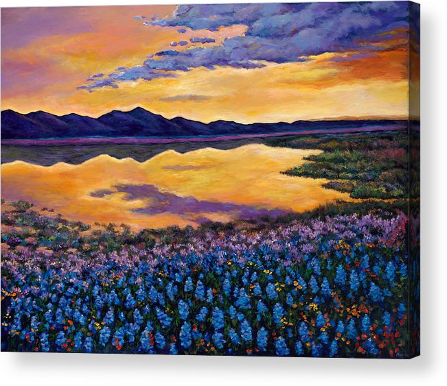 Southwestern Landscape Acrylic Print featuring the painting Bluebonnet Rhapsody by Johnathan Harris