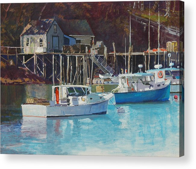 Maine Acrylic Print featuring the painting Boat Shack by Robert Bissett