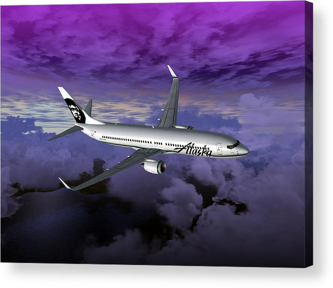 Aviation Acrylic Print featuring the digital art Boeing 737 Ng 001 by Mike Ray