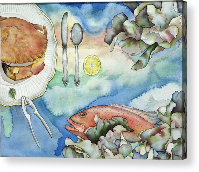 Sea Acrylic Print featuring the painting Bon Appetit Together Right Image Diptych by Liduine Bekman