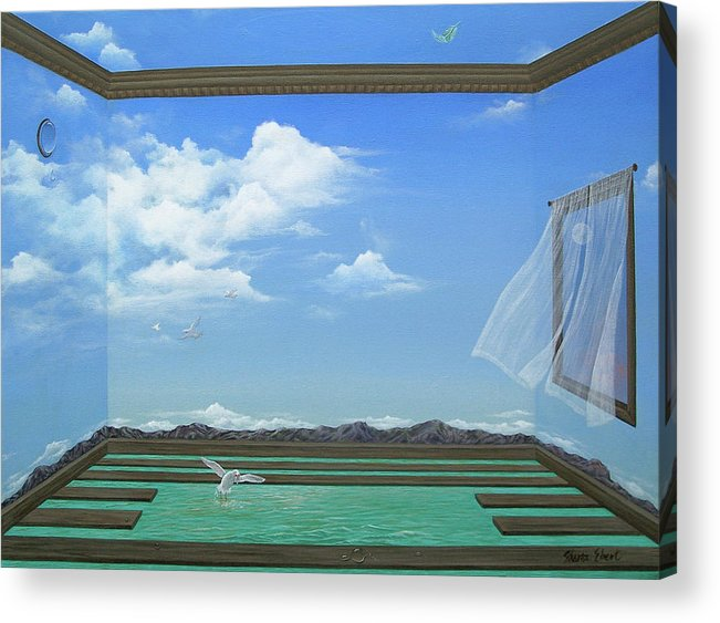 Surreal Painting Acrylic Print featuring the painting Breathing Room by Sharon Ebert
