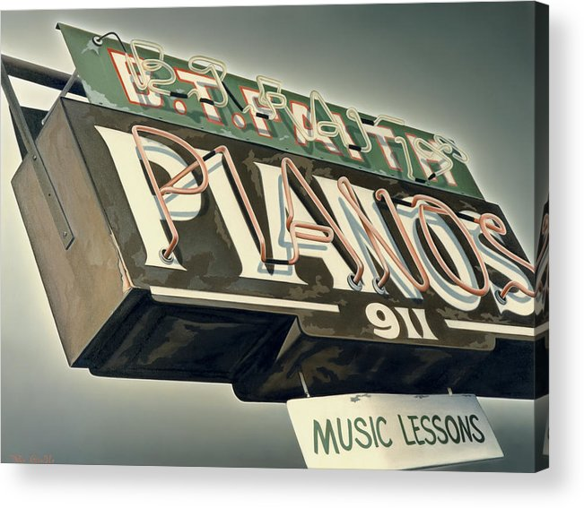 Sign Acrylic Print featuring the painting B.t.faith Pianos by Van Cordle