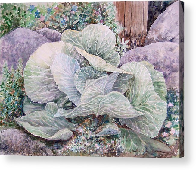 Leaves Acrylic Print featuring the painting Cabbage Head by Valerie Meotti
