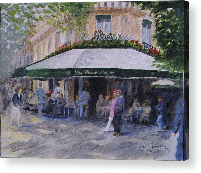 Cafe Magots Acrylic Print featuring the painting Cafe Magots by Jay Johnson