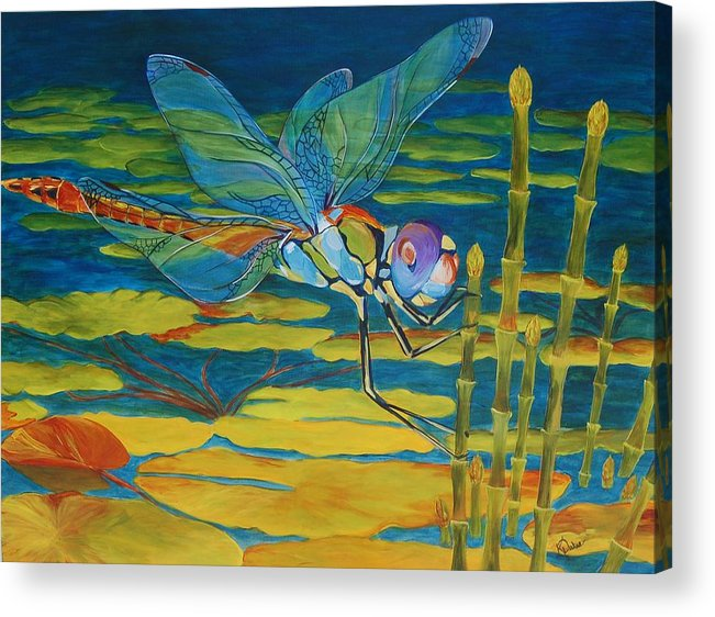 Dragonfly Acrylic Print featuring the painting Captivated by Karen Dukes