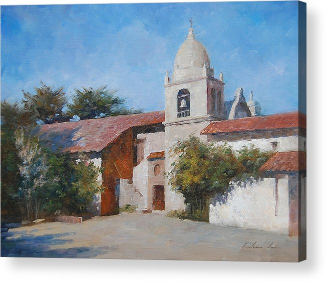 Landscape Acrylic Print featuring the painting Carmel Mission by Kelvin Lei
