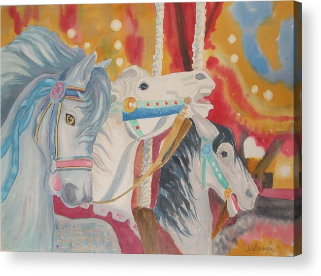 Carousel Acrylic Print featuring the painting Carousel 1 by Ally Benbrook