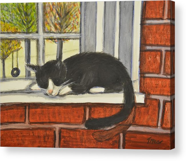 Cat Acrylic Print featuring the painting Cat Nap In Window by Teresa French McCarthy
