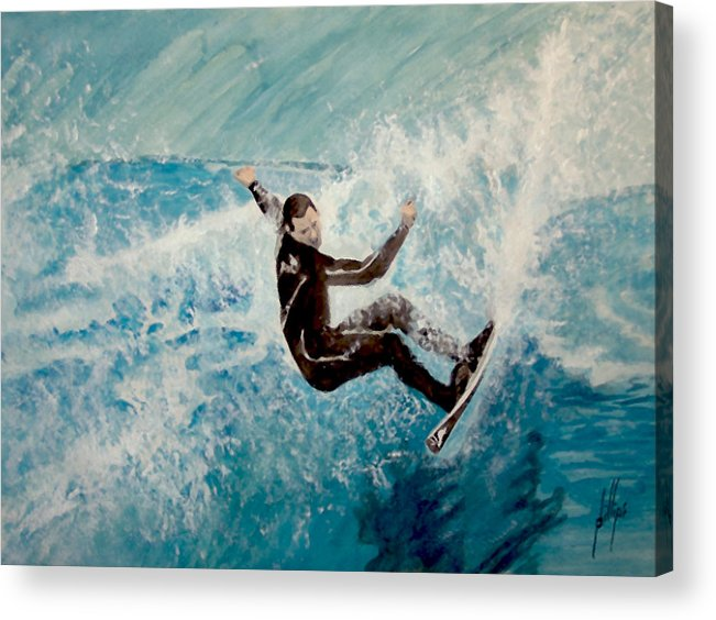 Surfer Water Wave Beach Acrylic Print featuring the painting Catch by Jim Phillips
