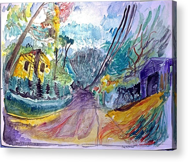 Street Scene Acrylic Print featuring the drawing Cedar Valley Lane Huntington Ny by Don Schaeffer