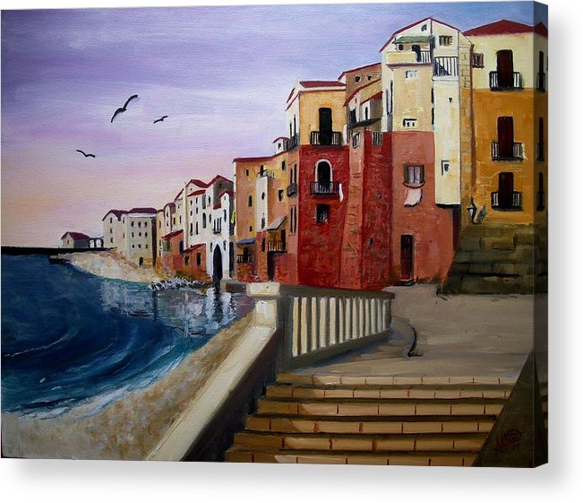 Imbrunire Su Cefalu Acrylic Print featuring the painting Cefalu by Anthony Meton