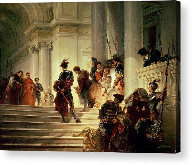 Cesare Acrylic Print featuring the painting Cesare Borgia Leaving The Vatican by Giuseppe Lorenzo Gatteri