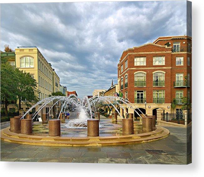 Charleston Fountain Acrylic Print featuring the photograph Charleston Fountain by Mike Covington