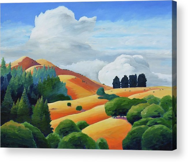 Clouds Acrylic Print featuring the painting Clouds Over Windy Hill by Gary Coleman