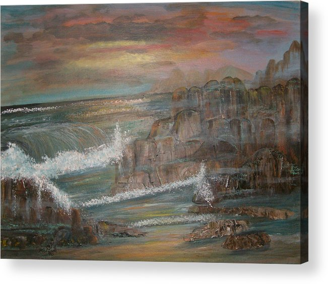 Seascape Acrylic Print featuring the painting Coastal Brillancy by Mikki Alhart