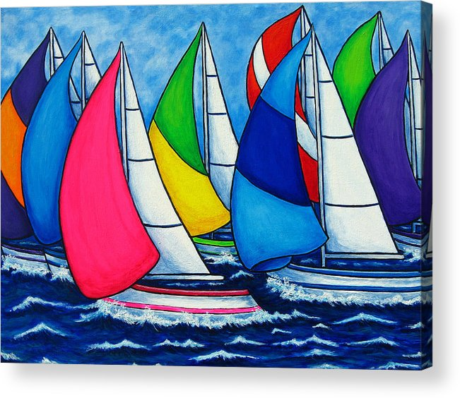 Boats Acrylic Print featuring the painting Colourful Regatta by Lisa Lorenz