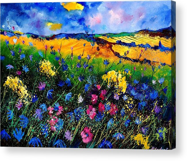 Flowers Acrylic Print featuring the painting Cornflowers 680808 by Pol Ledent