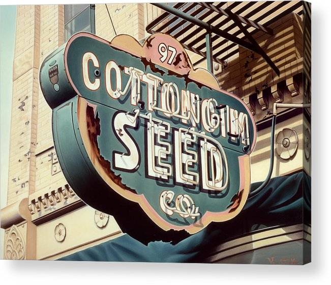 Sign Acrylic Print featuring the painting Cottongim Seed by Van Cordle