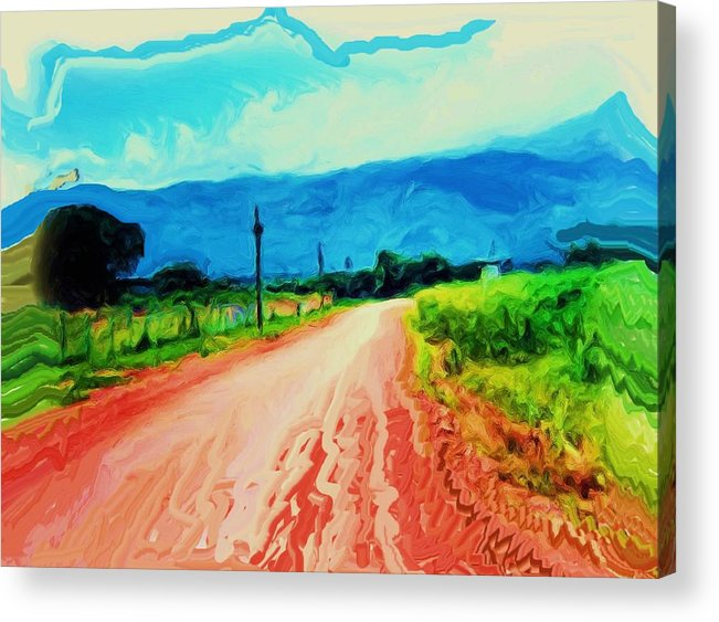 Country Road Acrylic Print featuring the painting Country Road by Nereida Slesarchik Cedeno Wilcoxon