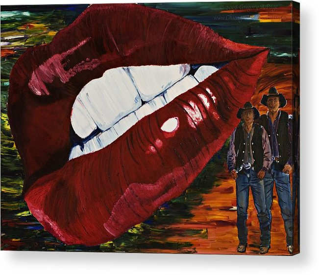 Cowboy Acrylic Print featuring the painting Cowboy Lips by Gregory Allen Page