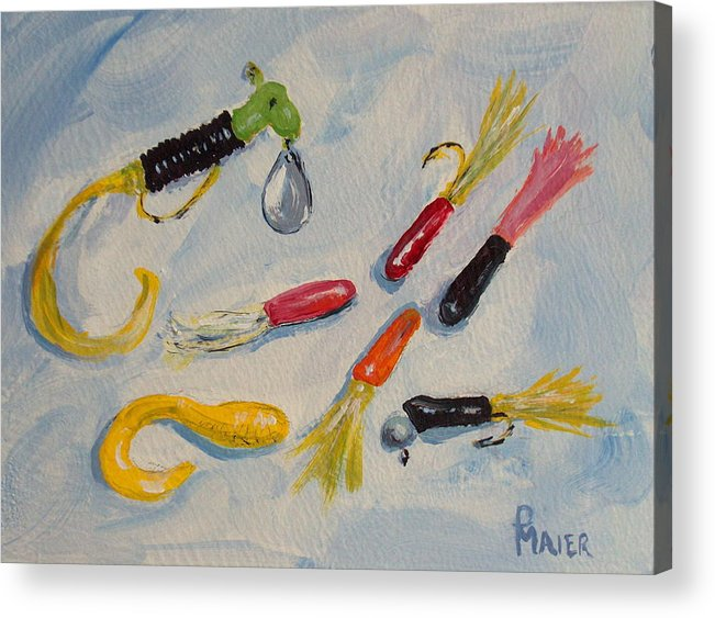 Fishing Acrylic Print featuring the painting Crappie Lures by Pete Maier
