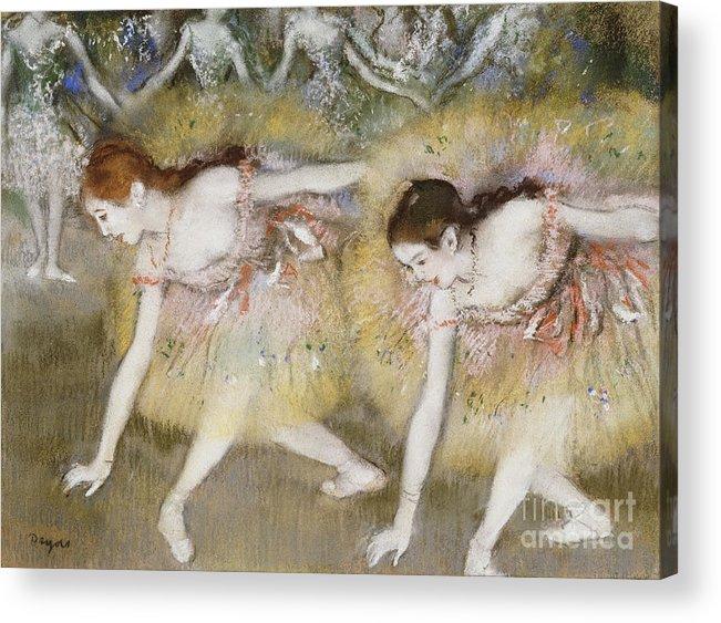 Dancers Bending Down (oil On Canvas) By Edgar Degas (1834-1917) Impressionism; Impressionist; Female; Dancer; Dancing; Dance; Ballet; Ballerina; Tutu; Degas Acrylic Print featuring the painting Dancers Bending Down by Edgar Degas