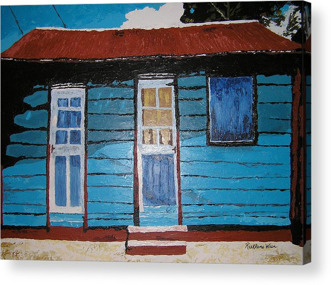 House Acrylic Print featuring the painting Daydreaming Blues by Ricklene Wren