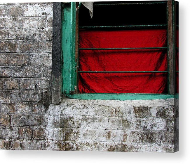 Red Acrylic Print featuring the photograph Dharamsala Window by Skip Hunt