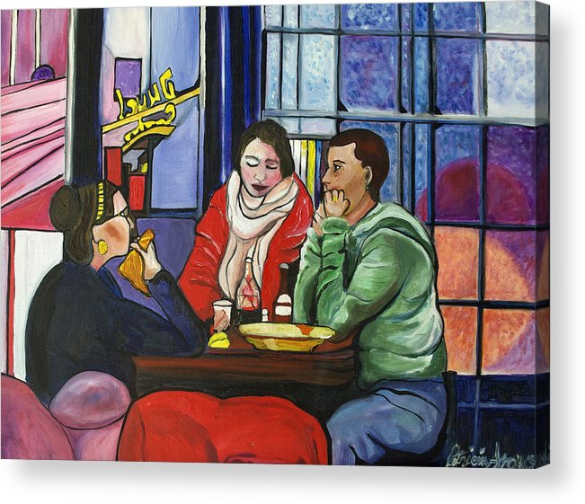 People Acrylic Print featuring the painting Dinner In Dam by Patricia Arroyo