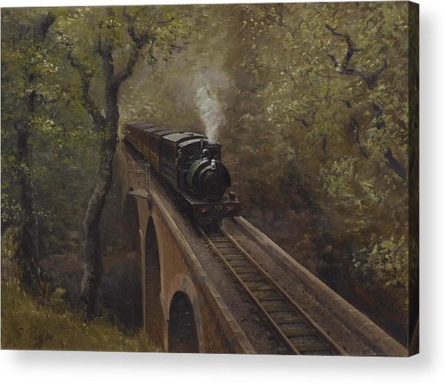 Steam Acrylic Print featuring the painting Dolgoch Viaduct by Richard Picton
