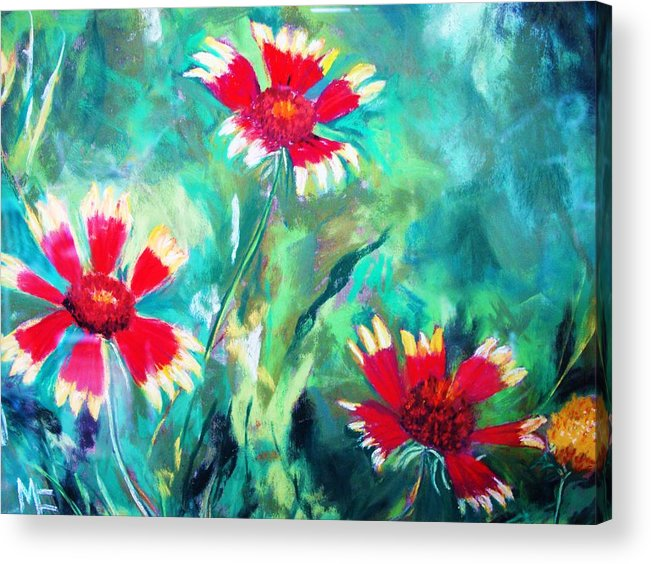 Flowers Acrylic Print featuring the painting East Texas Wild Flowers by Melinda Etzold