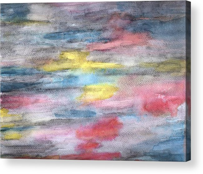 Abstract Acrylic Print featuring the painting Ebony Rainbow by Mary Zimmerman