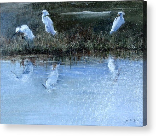 Egrets Acrylic Print featuring the painting Egrets No. 3 by Helene Mohn