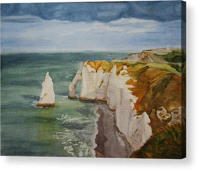 Seascape Acrylic Print featuring the painting Etretat by Monika Degan