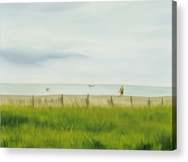 Seascape Acrylic Print featuring the painting Evening At Cape May by Lea Novak