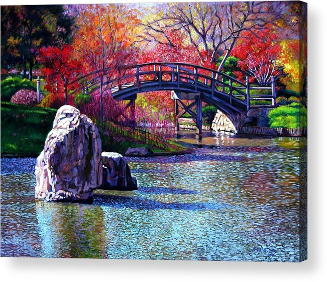 Garden Acrylic Print featuring the painting Fall In The Garden by John Lautermilch