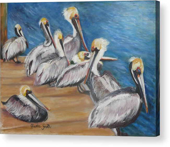 Pelicans Acrylic Print featuring the painting Family Meeting by Gloria Smith