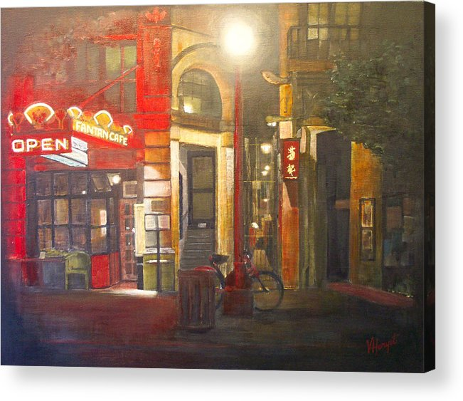 Chinatown Acrylic Print featuring the painting Fan Tan Alley by Victoria Heryet