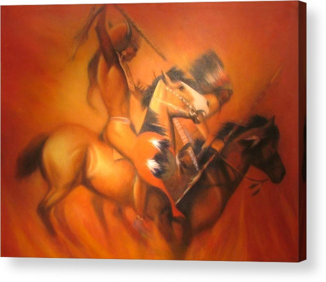 Native American Acrylic Print featuring the painting Fire Riders by Elizabeth Silk