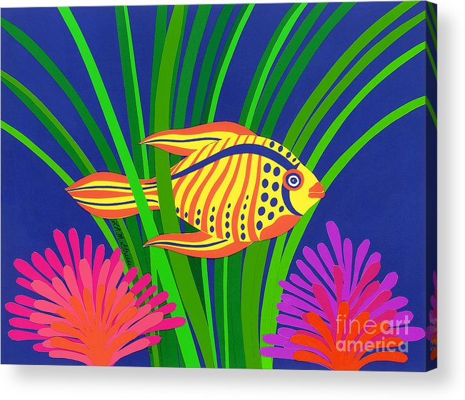 Nature Acrylic Print featuring the drawing Fish by Lucyna A M Green