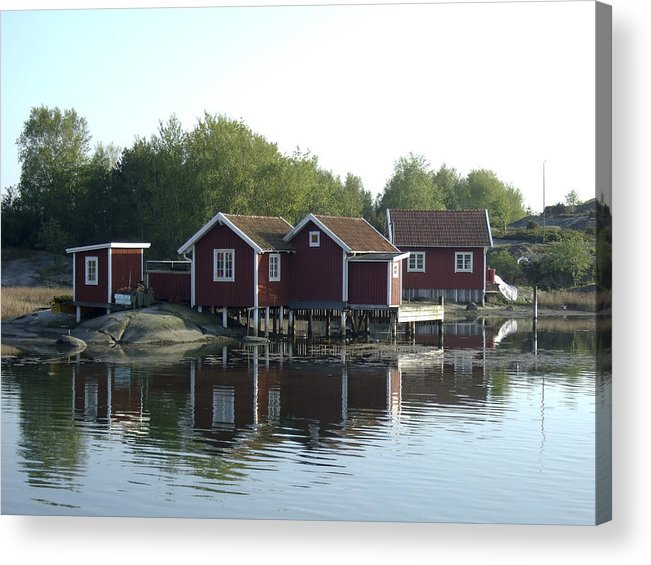 Summer Acrylic Print featuring the photograph Fisherman's Huts by Dan Andersson