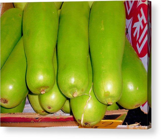 Fresh Vegetable Gourd Acrylic Print featuring the painting Fresh Vegetable Gourd by Jeelan Clark