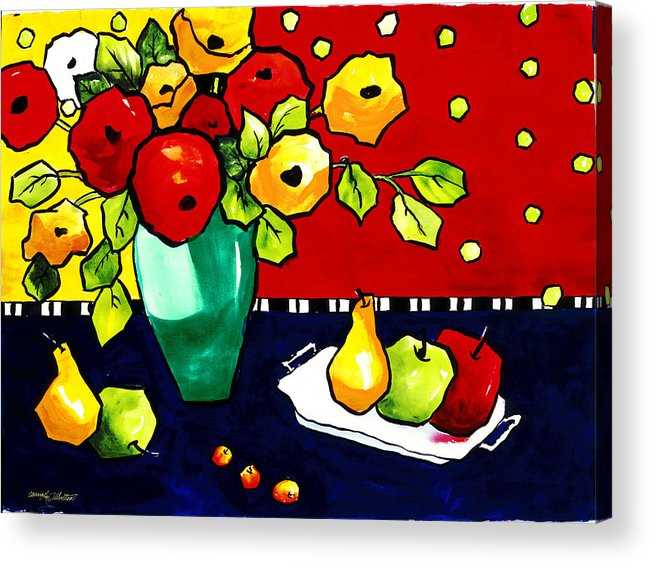 Painting Acrylic Print featuring the painting Funny Flowers And Fruit by Carrie Allbritton