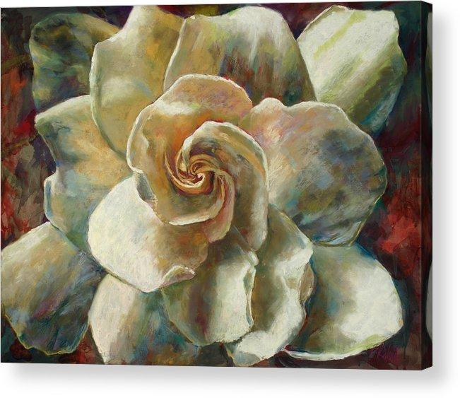 Billie J Colson Floral Art Acrylic Print featuring the painting Gardenia by Billie Colson